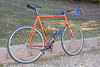 De Rosa Neo Primato Fixed Gear.   This frame is exactly to the specs of the last frame Ugo De Rosa made for Eddy Merckx.   In 2004, he decided to start making the frame again, only with the latest steel tubing and welding techniques.  The steel on this frame is paper-thin compared to 1970s/1980s frames!